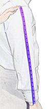 Замеры длины рукава мужской рубашки