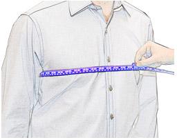 Измерение объема груди мужчины
